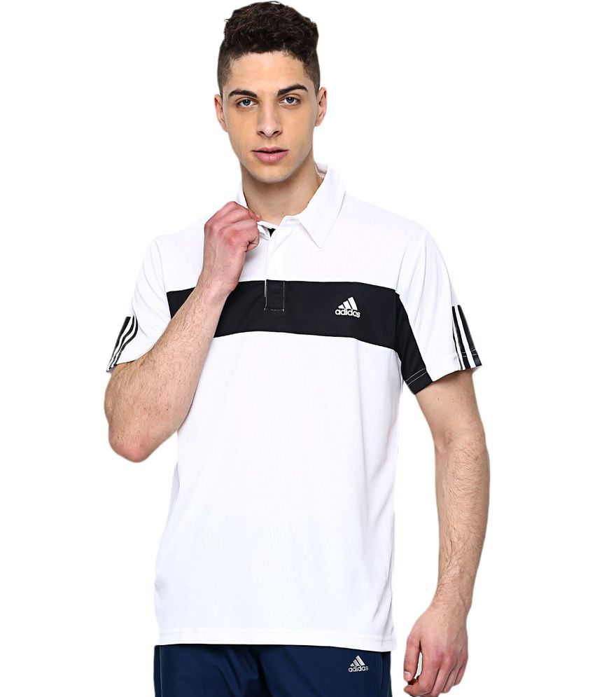 Adidas White Polyester T-Shirt