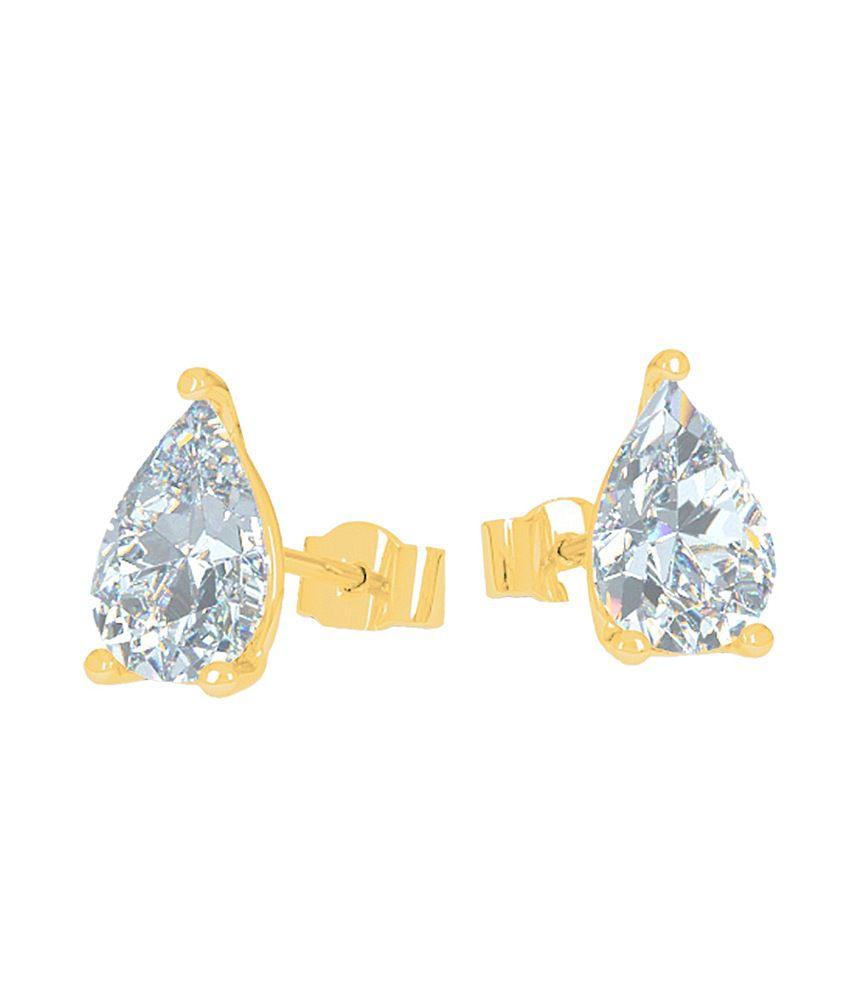 Aiza Certified Real Diamond Hallmarked Gold, Elegant Drop Shape Stud Earring