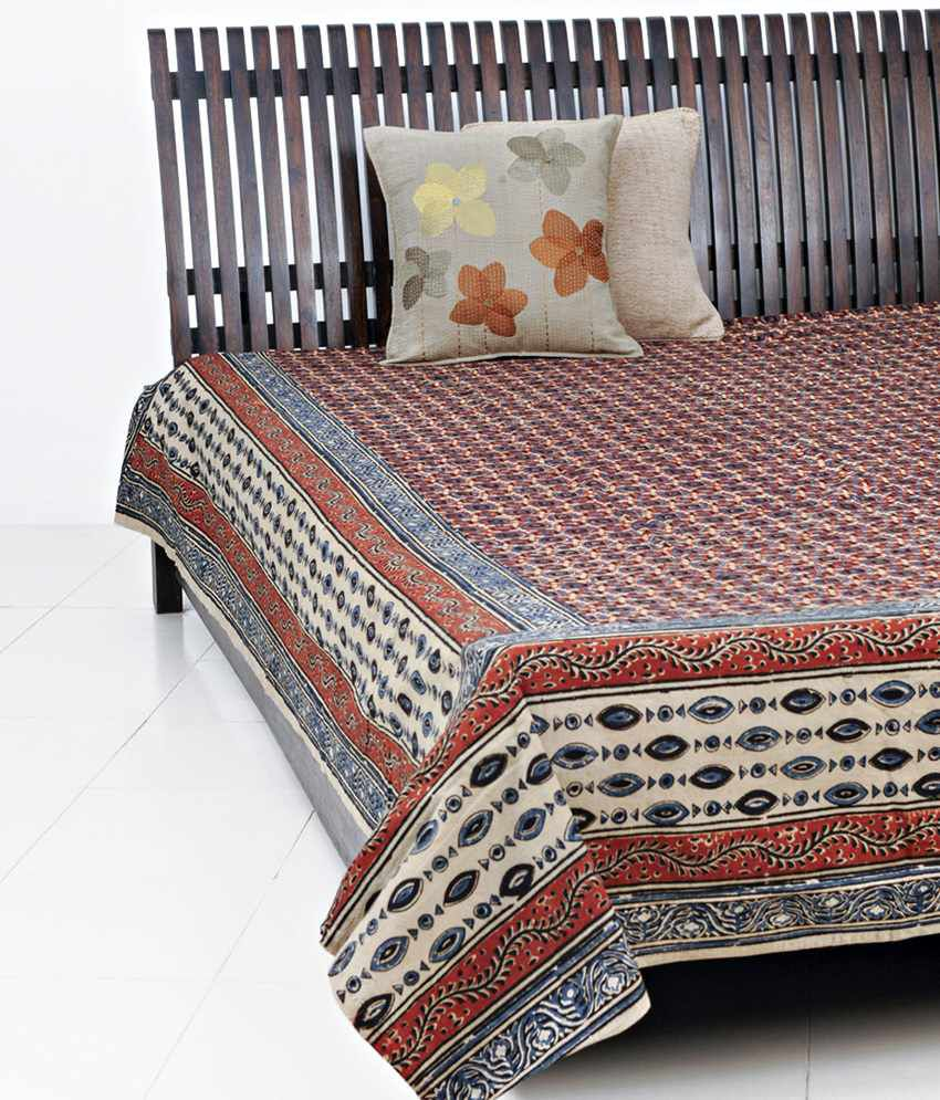 fabindia brown kalamkari printed cotton bed cover double buy