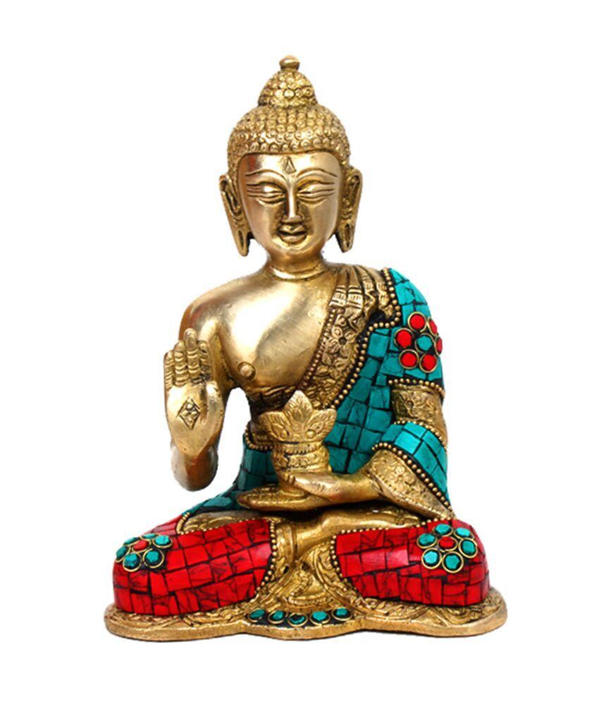 Purpledip Designer Brass Buddha - 15x12cm