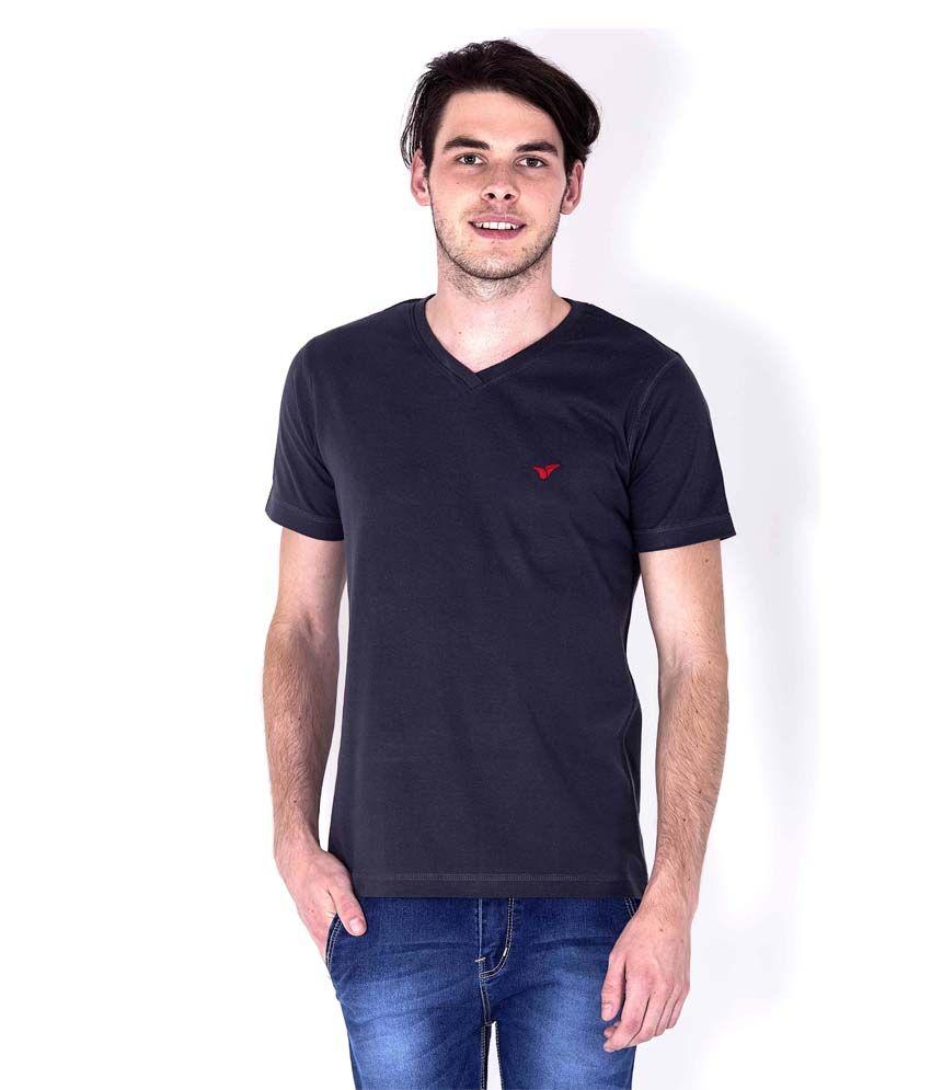 Sera gray cotton basics half sleeves v neck t shirt for for Half sleeve t shirts for men