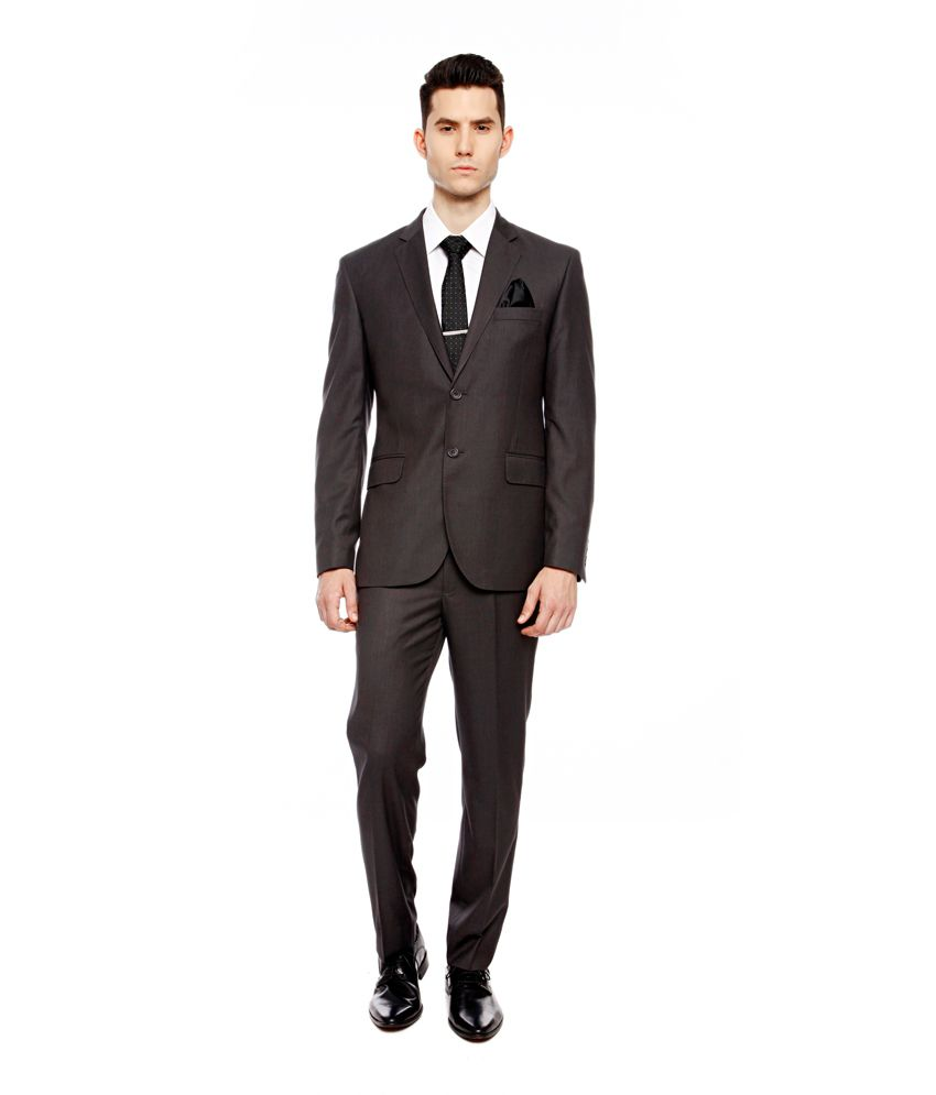 Brahaan BLUE TAG Gray Slim Fit Single-Breasted Formal Suit
