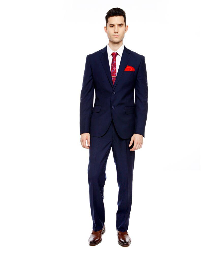 Brahaan BLUE TAG Navy Blue Slim Fit Single-Breasted Formal Suit