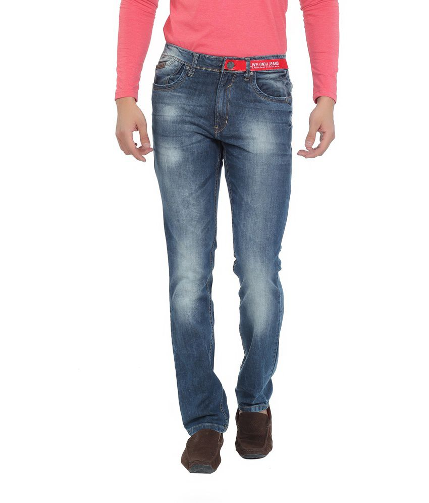 Live In Gray Cotton Blend Relaxed Fit Faded Jeans