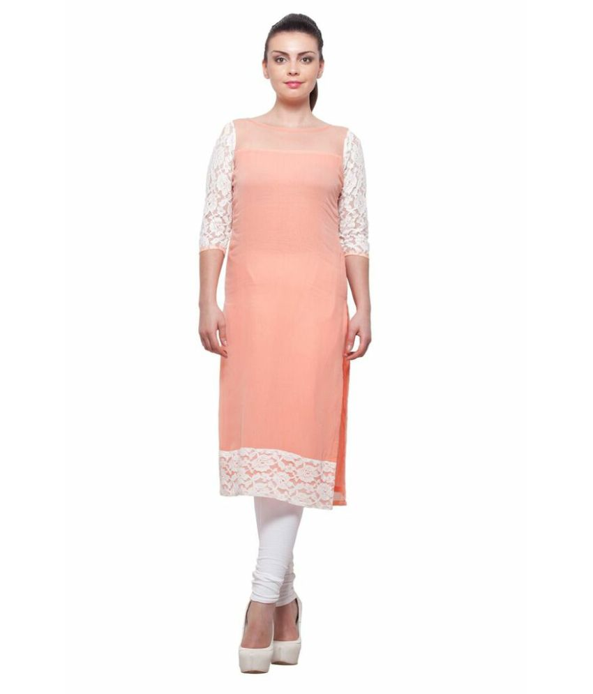 Prettypataka Pink Pure Georgette Round Neck Kurti Pack Of 2