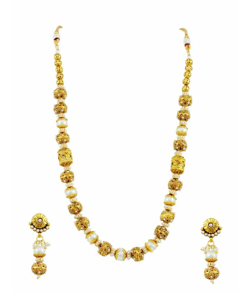 Orniza Ravishing Pearl Golden Mala Set
