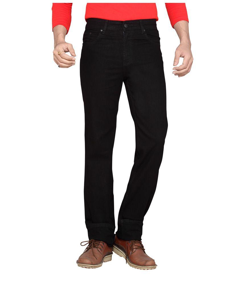 Dragaon Jeans Black Cotton Blend Regular Fit Jeans For Men