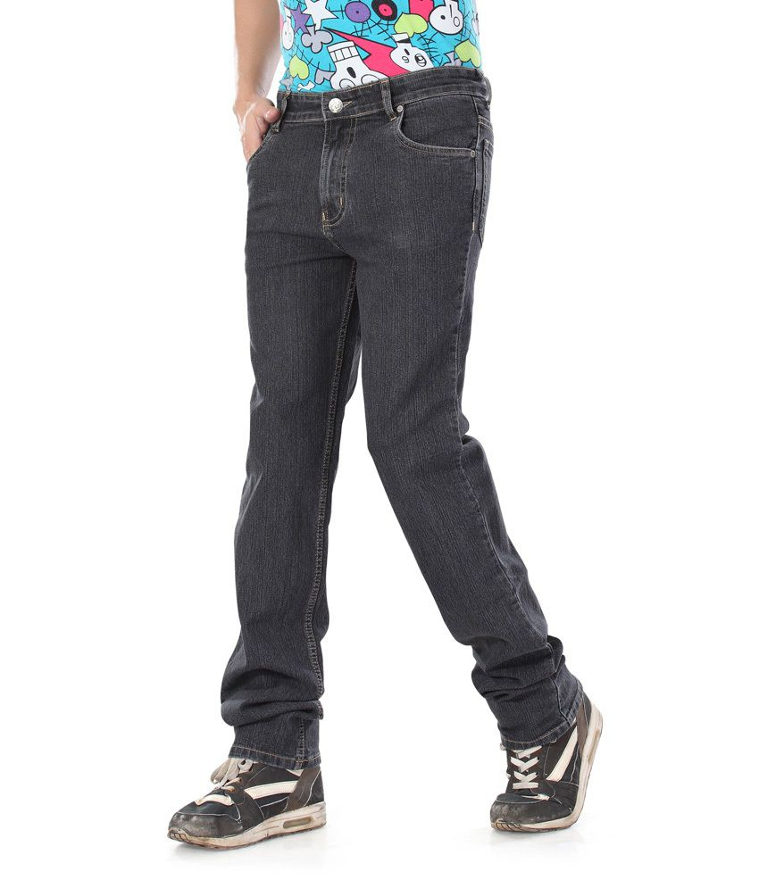 Dragaon Jeans Gray Cotton Blend Regular Fit Jeans For Men