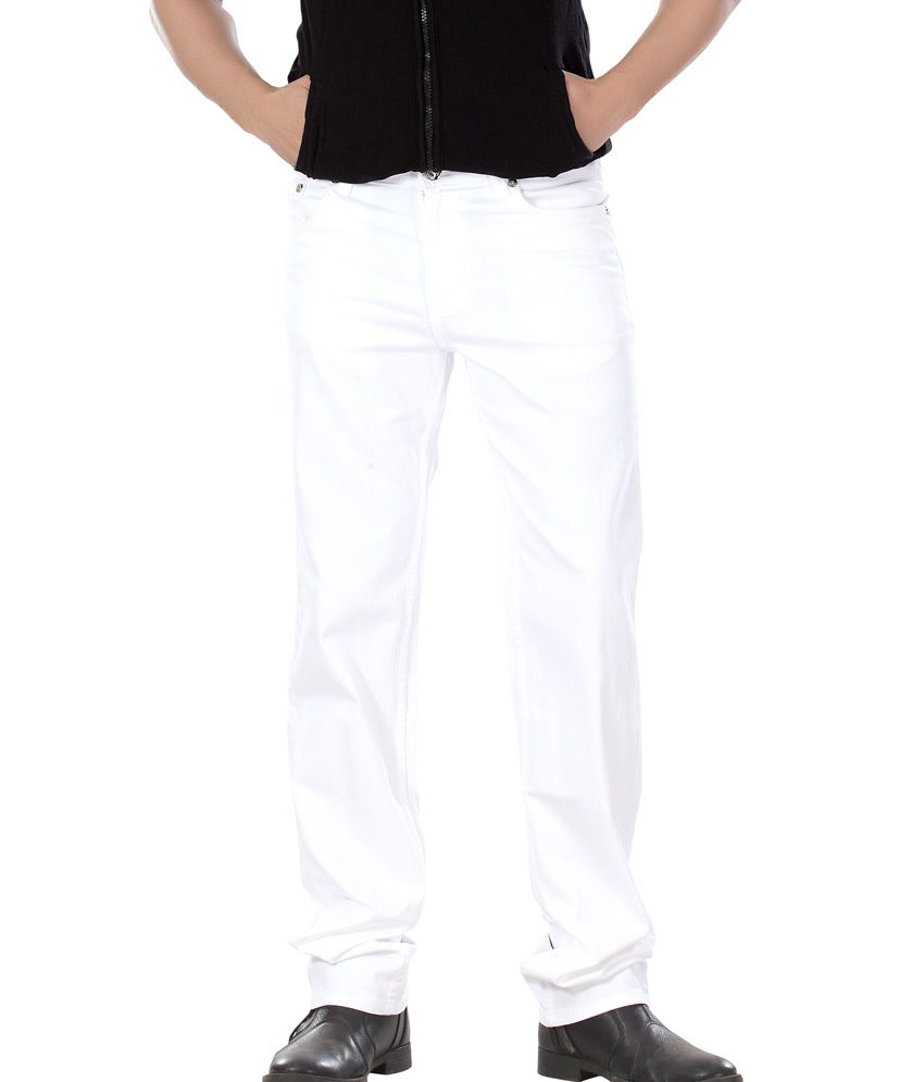 Dragaon Jeans White Cotton Blend Regular Fit Jeans For Men