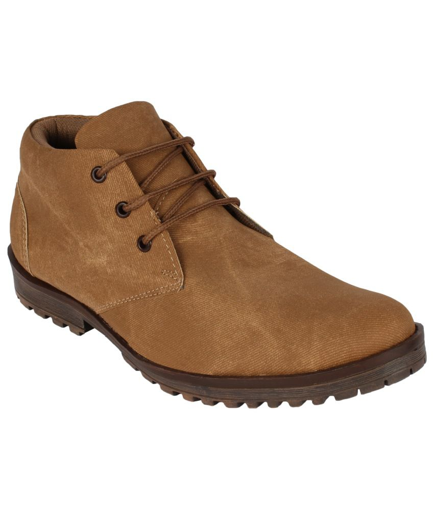 San Vertino Tan Synthetic Leather Boots For Men
