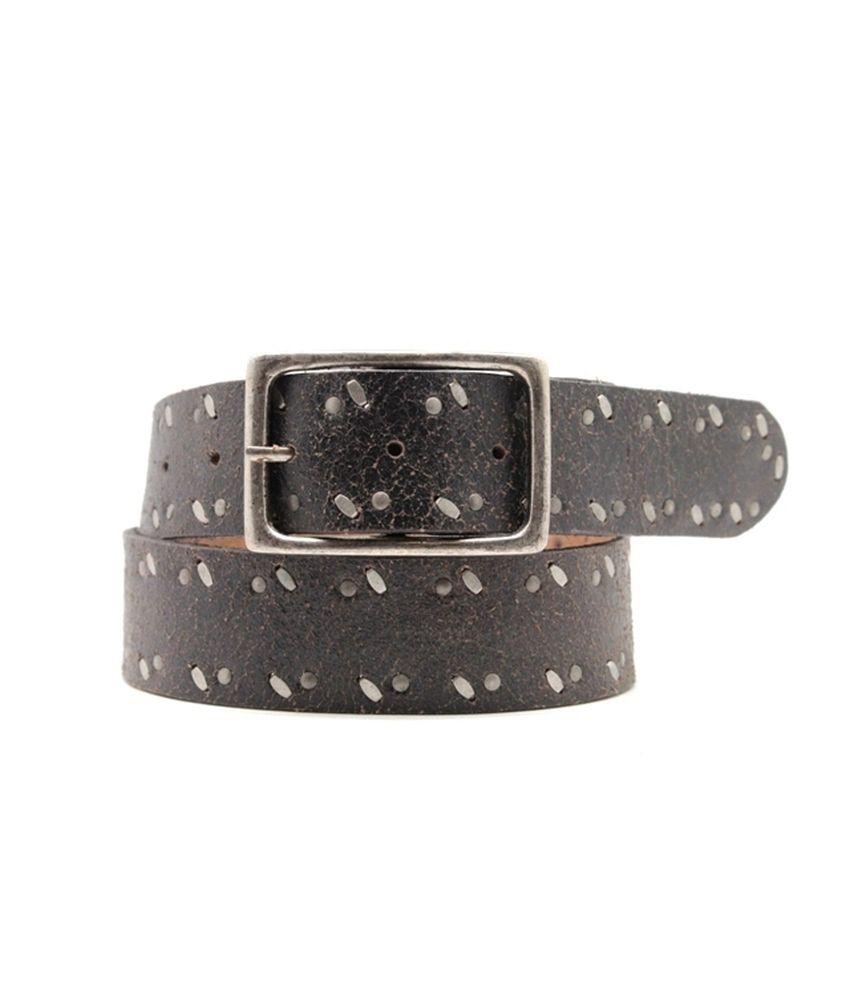 Urban Vintage Black Leather Single Casual Belt For Men