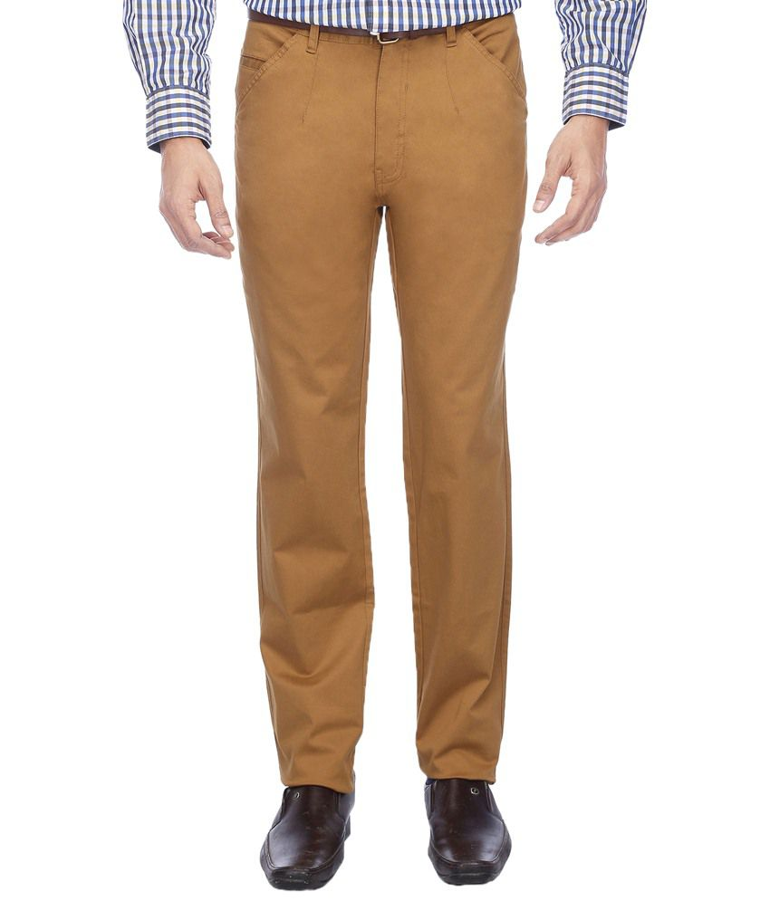 Vettorio Fratini By Shoppers Stop Stylish Brown Casual Trouser