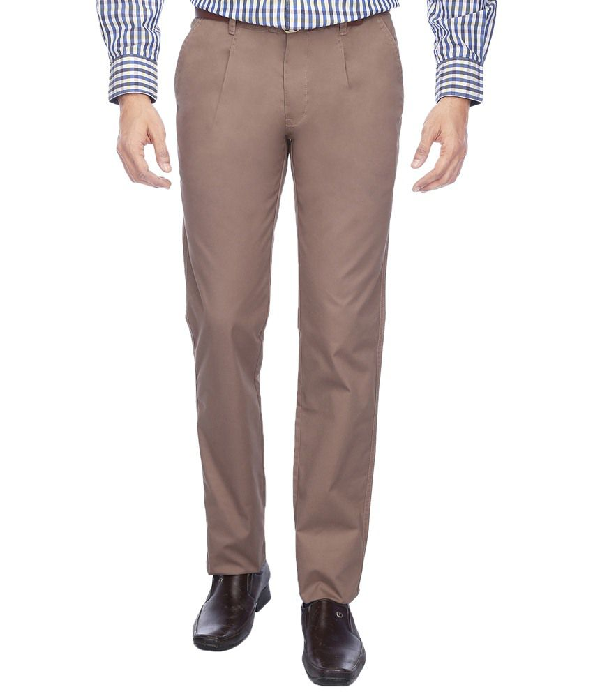 Vettorio Fratini By Shoppers Stop Marvellous Brown Casual Trouser