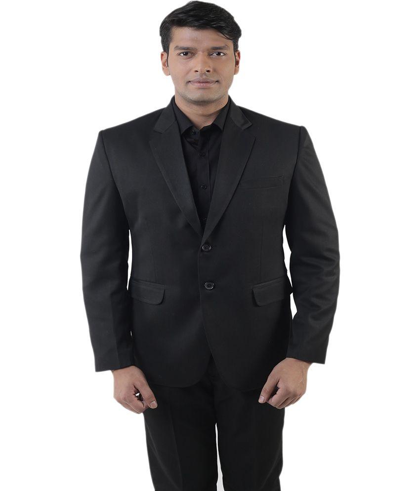 Lee Marc Black Poly Blend Formal Suit
