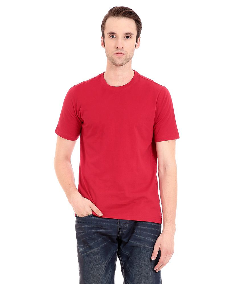 Palm Beach Red Cotton Blend Half Printed T-Shirt