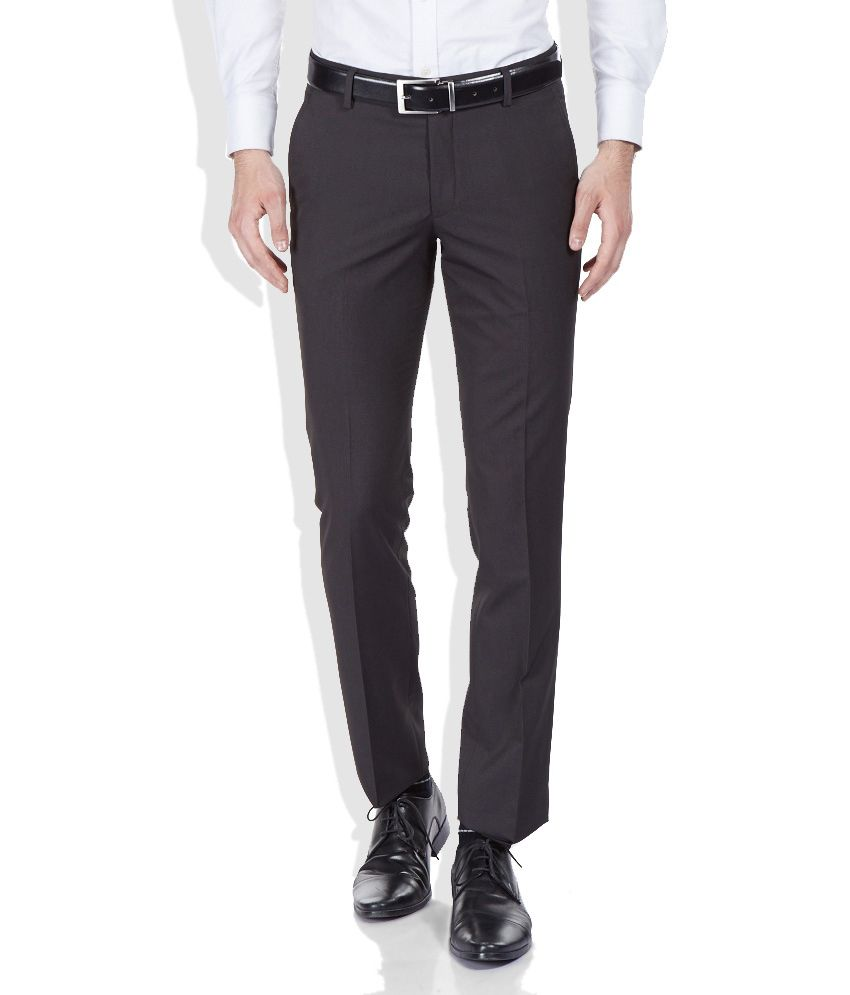 SDF Brown Men's Formal Plain Trouser