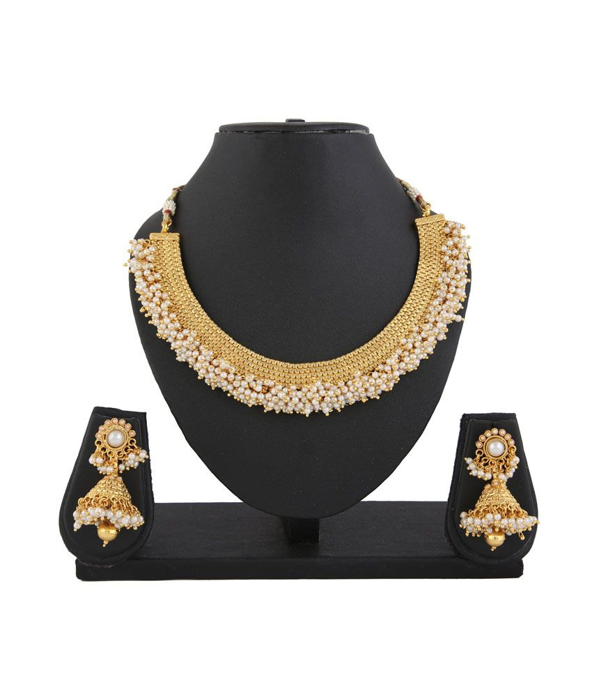 b482866f9f7 Apsara White Gold Plated Pearls Choker Necklace Set - Buy Apsara White Gold  Plated Pearls Choker Necklace Set Online at Best Prices in India on Snapdeal