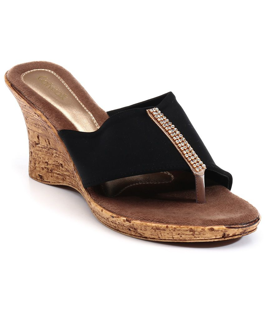 Catwalk Black Heeled Slip On