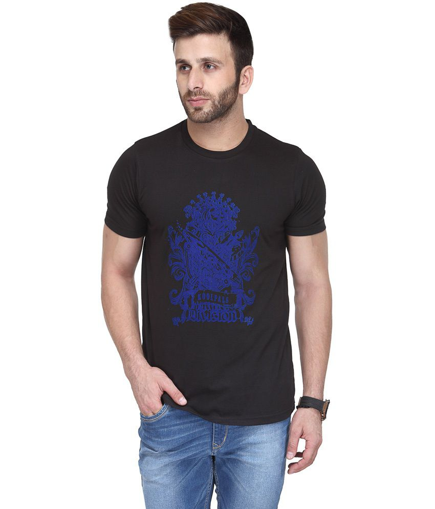 Koolpals Black Cotton Round Neck Printed Half Sleeves T-Shirt