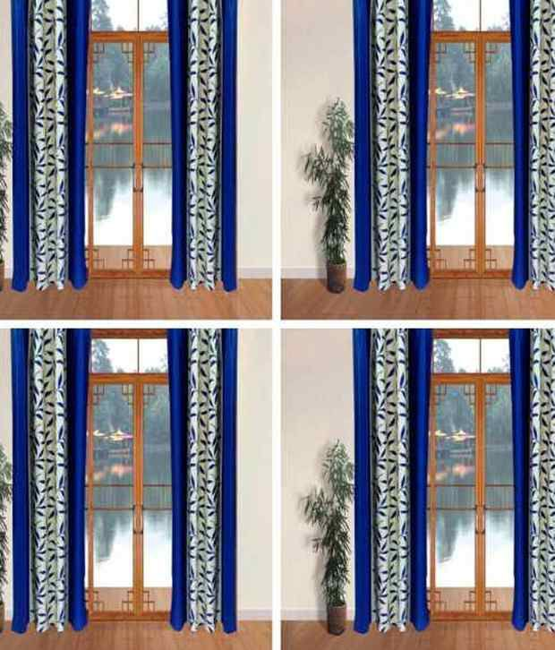 Livvin Set of 8 Window Eyelet Curtains Contemporary Blue