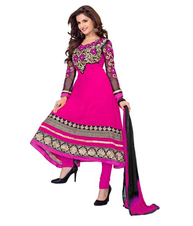 Shree Bhagwati Fashion Pink Anarkali Pure Georgette Embroidered Dress Material