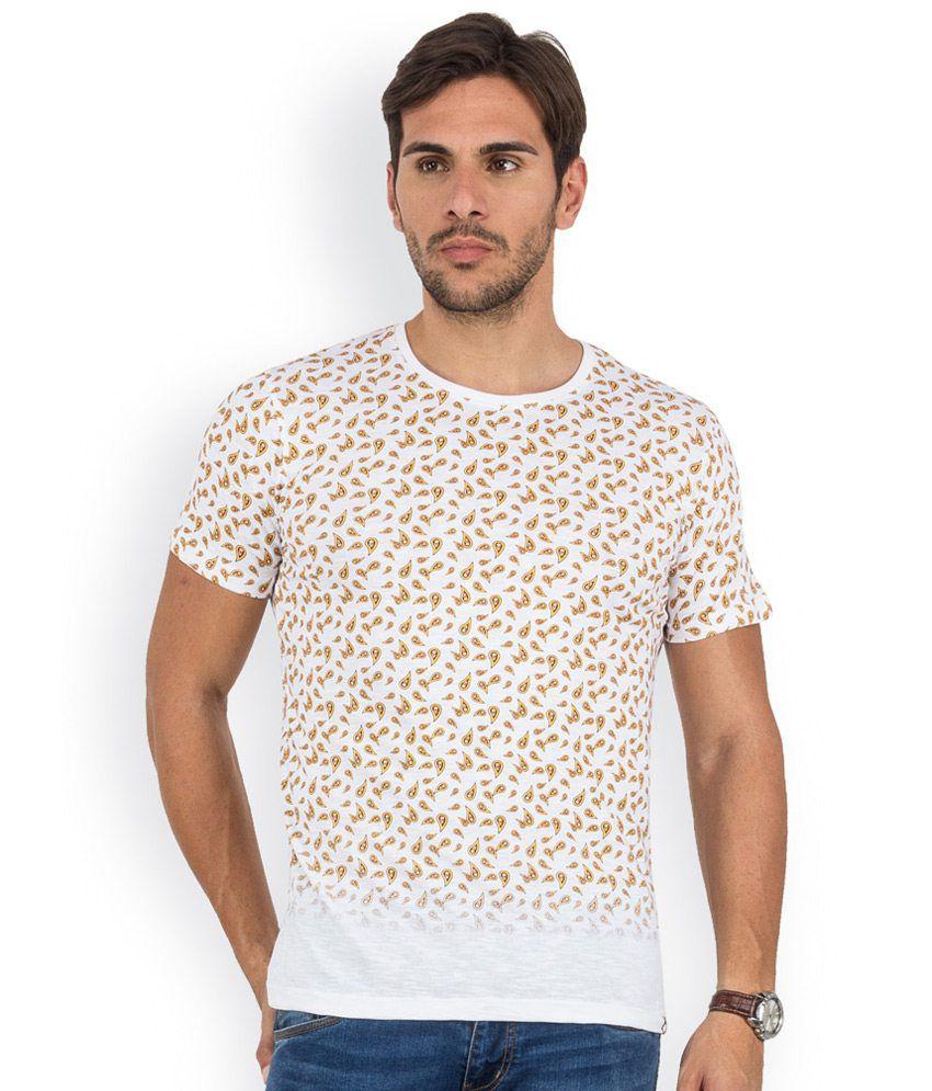Blu Mnky White Printed Cotton Round Neck T-Shirt