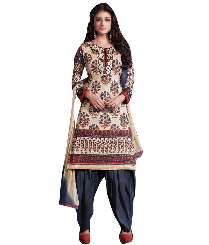Diva Divine Beige Cotton Embroidered Semi-Stitched Salwar Suit