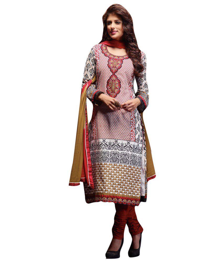 Diva Divine GhostWhite Cotton Embroidered Semi-Stitched Salwar Suit
