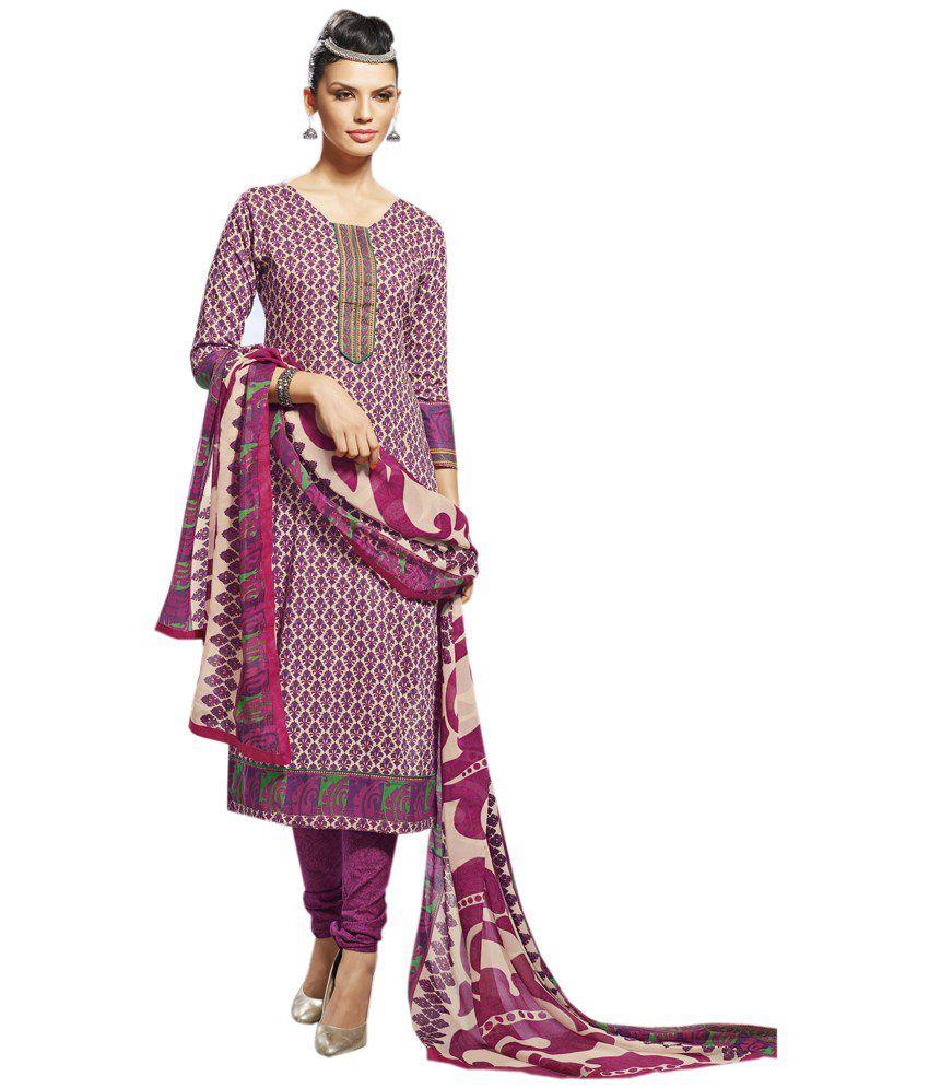 Diva Divine Purple Cotton Printed Semi-Stitched Salwar Suit