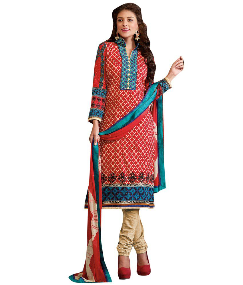 Diva Divine Red Cotton Embroidered Semi-Stitched Salwar Suit
