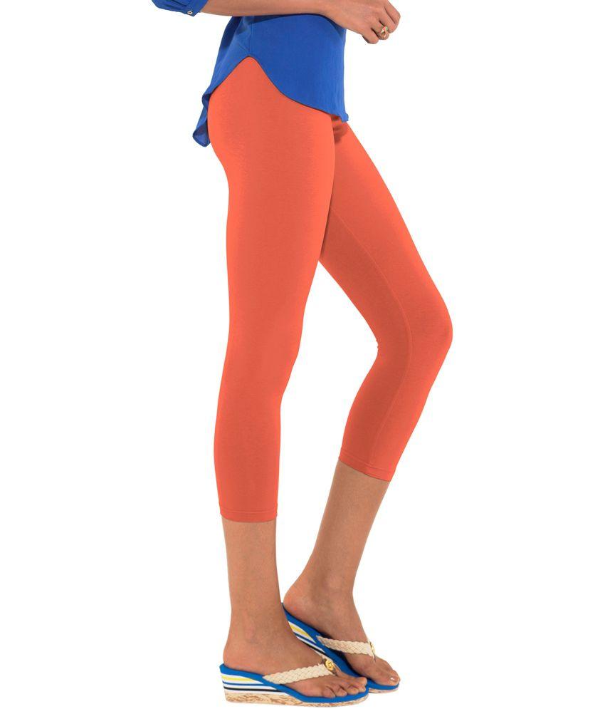 35a5402b346cf3 Buy Go Colors-Bright Orange-Ladies 3/4 Leggings Online at Best ...