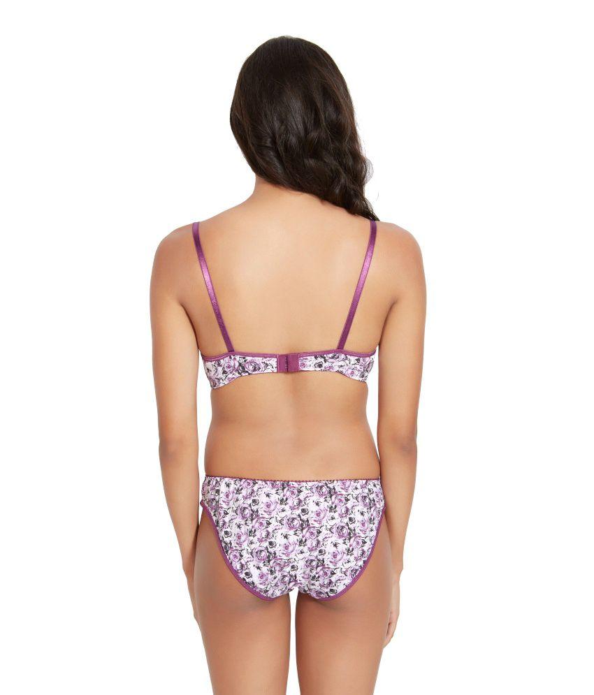 ec2572d8776c Buy Lovelady Purple Cotton Printed Bra Panty Set Online at Best ...