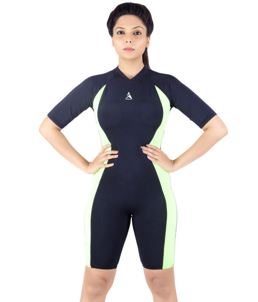Attiva Black and Green Polyamide Lycra Swimwear For Women/ Swimming Costume