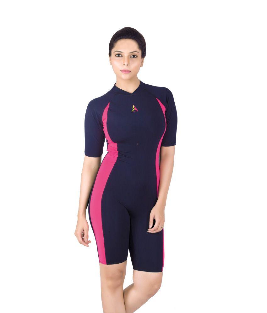 Attiva Black and Pink Polyamide Lycra Swimwear For Women