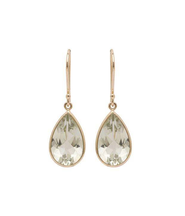 Brij 14 Kt Gold White Dangle Earring