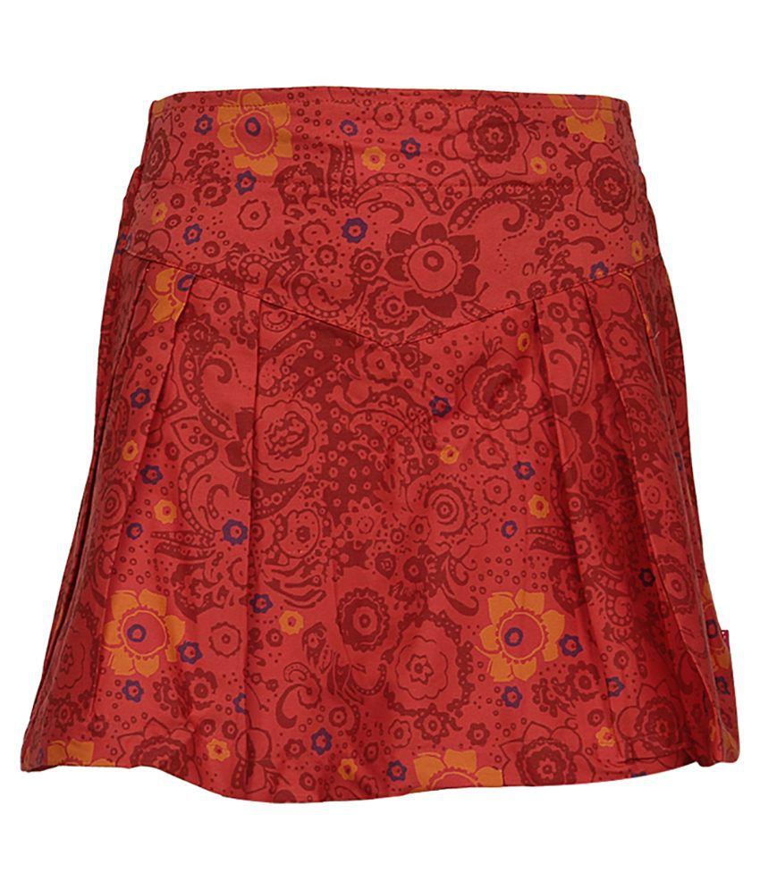 Dreamszone Red Printed Skirts For Kids
