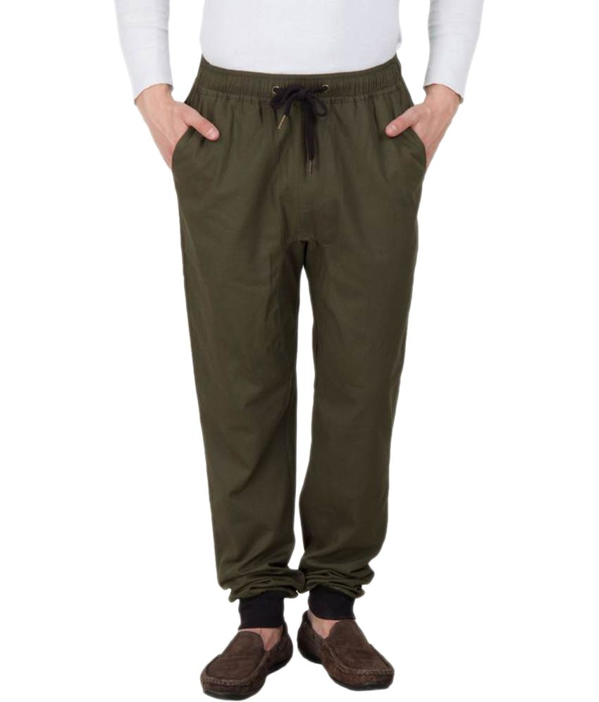 Hypernation Military Green Casual Trackpant