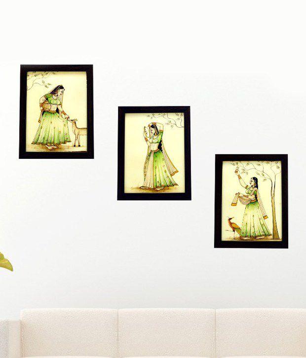 3 Piece set of framed wall art - Women, Deer and Peacock in the Garden