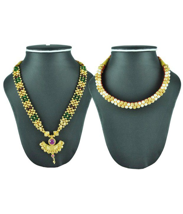 Womens Trendz Crystal Yellow Gold Plated Alloy Kolhapuri Necklace Combo Pack