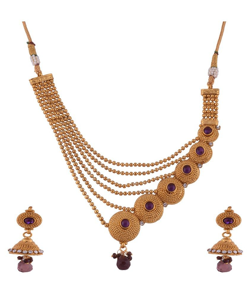 1 gram gold plated designer necklace with layered chains and purple