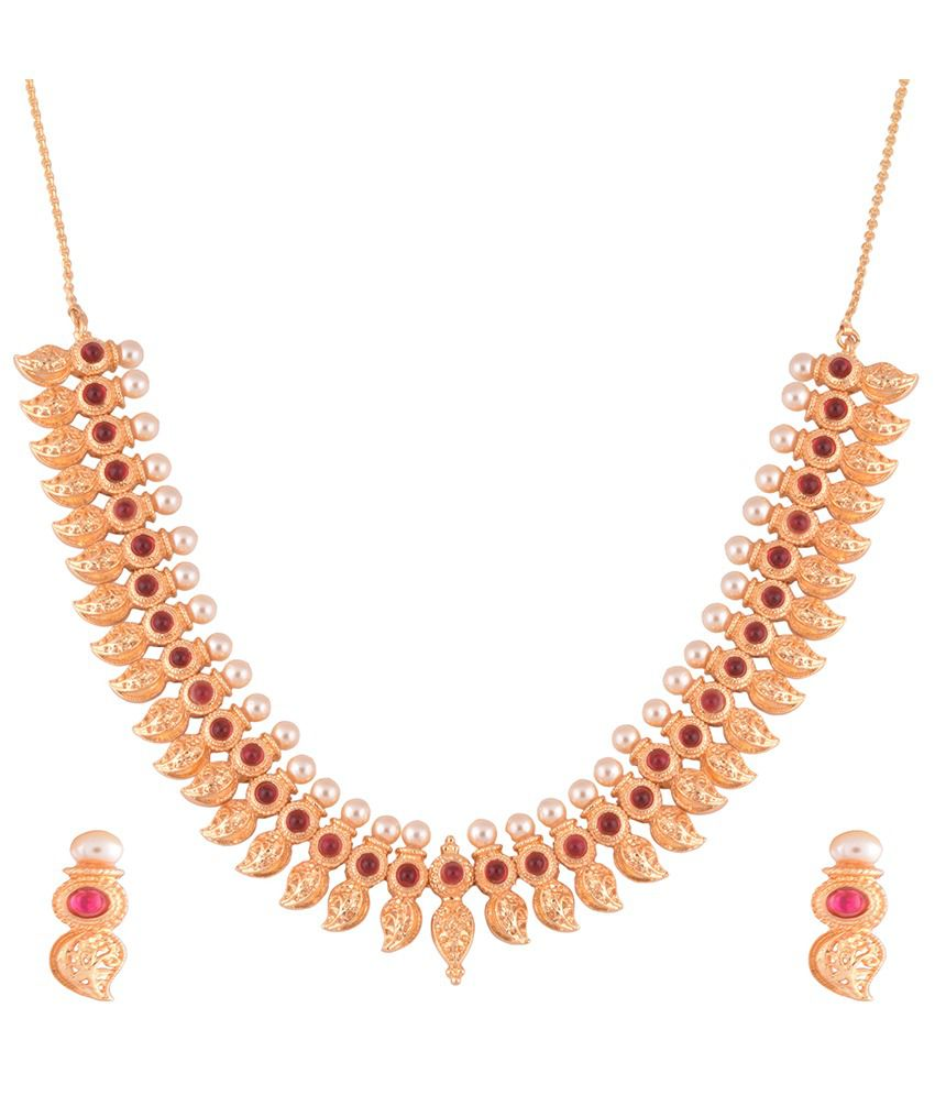 1 gram gold plated mango design necklace set with ruby cz and ...