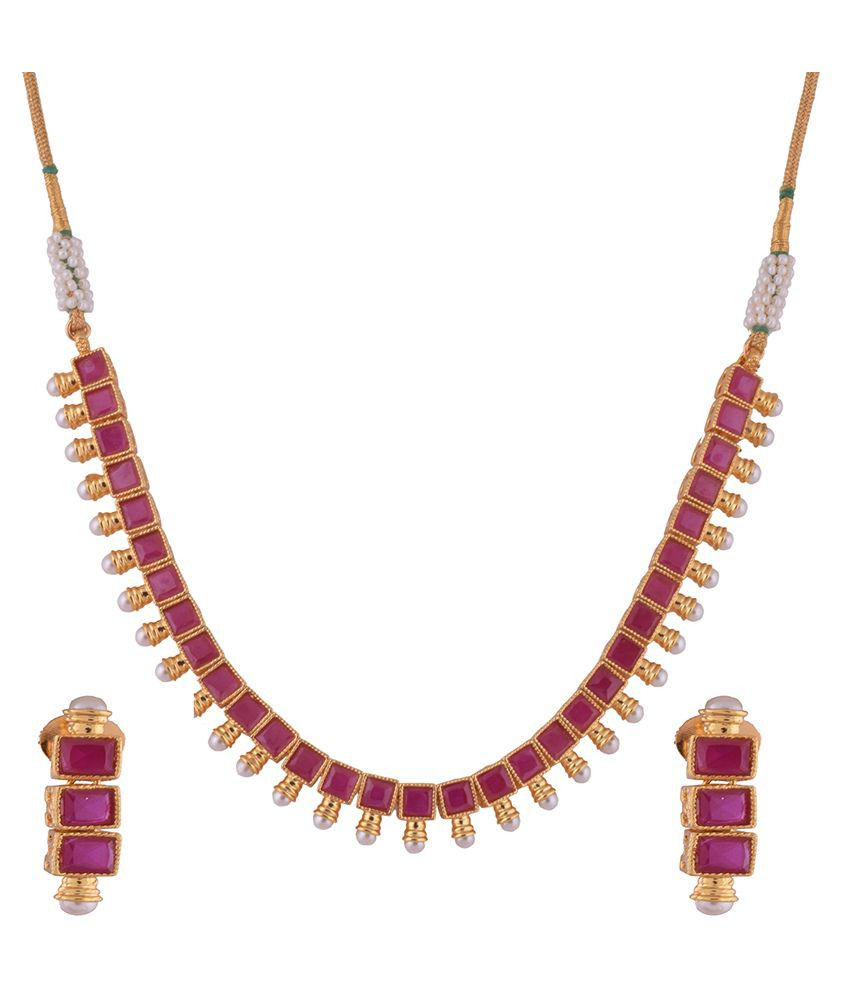 1 gram gold plated necklace set with ruby cz stones and pearls ...  sc 1 st  Snapdeal & 1 gram gold plated necklace set with ruby cz stones and pearls - Buy ...