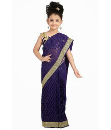 Bhartiya Paridhan Purple Viscose Ready To Wear Purple Saree For Girls