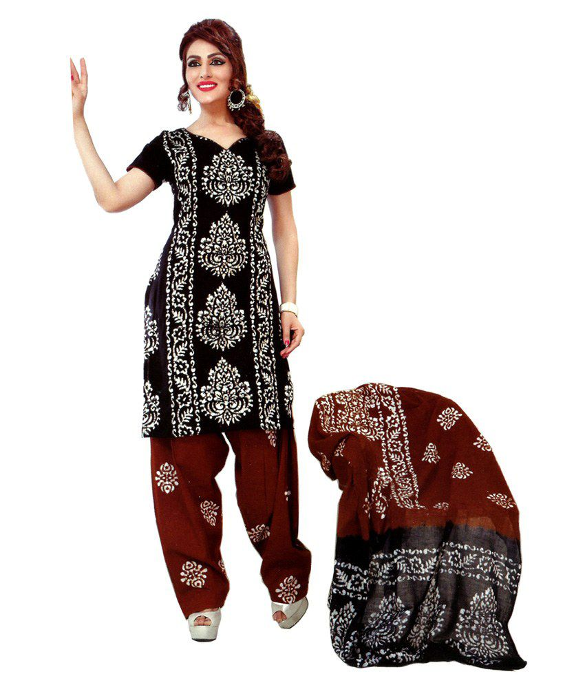 Devi Black Cotton Printed Dress Material