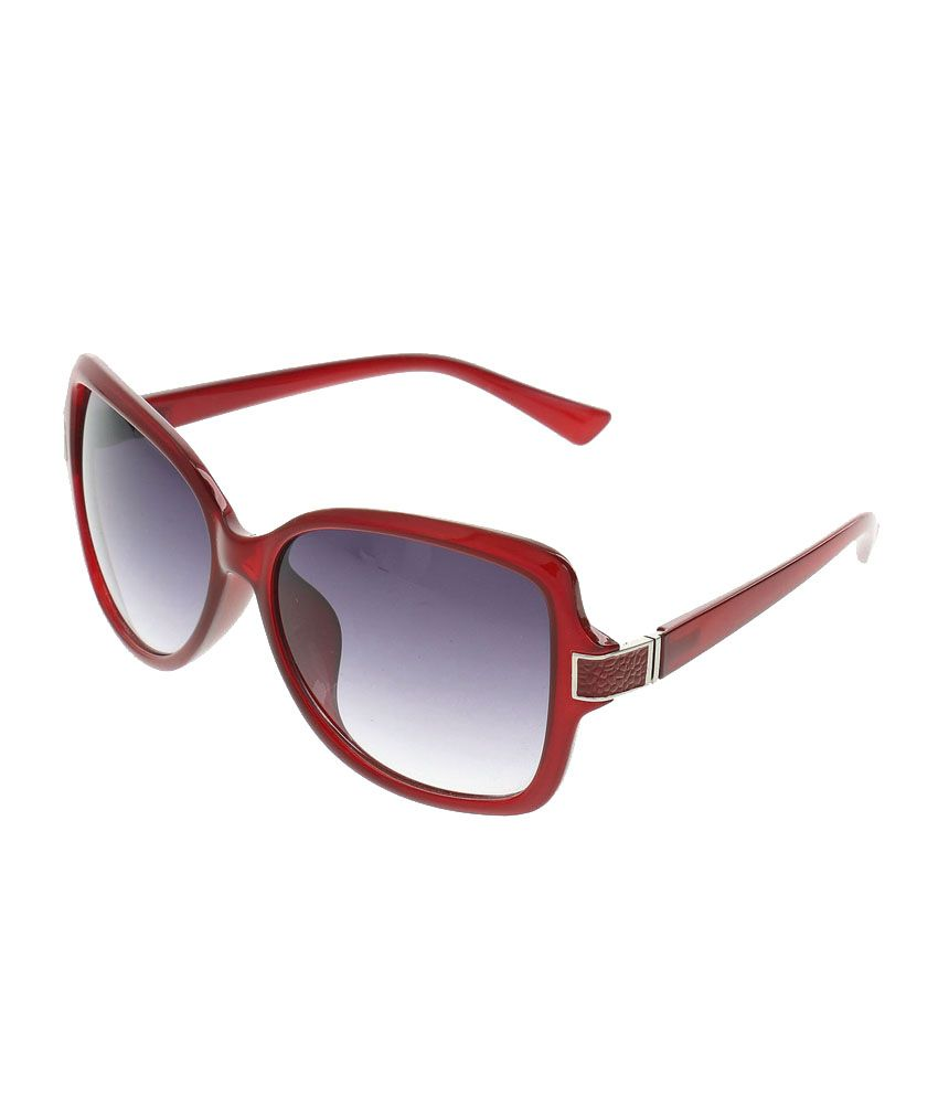 Feel Red Frame Polycarbonate Oval Sunglasses Feelfe062-03