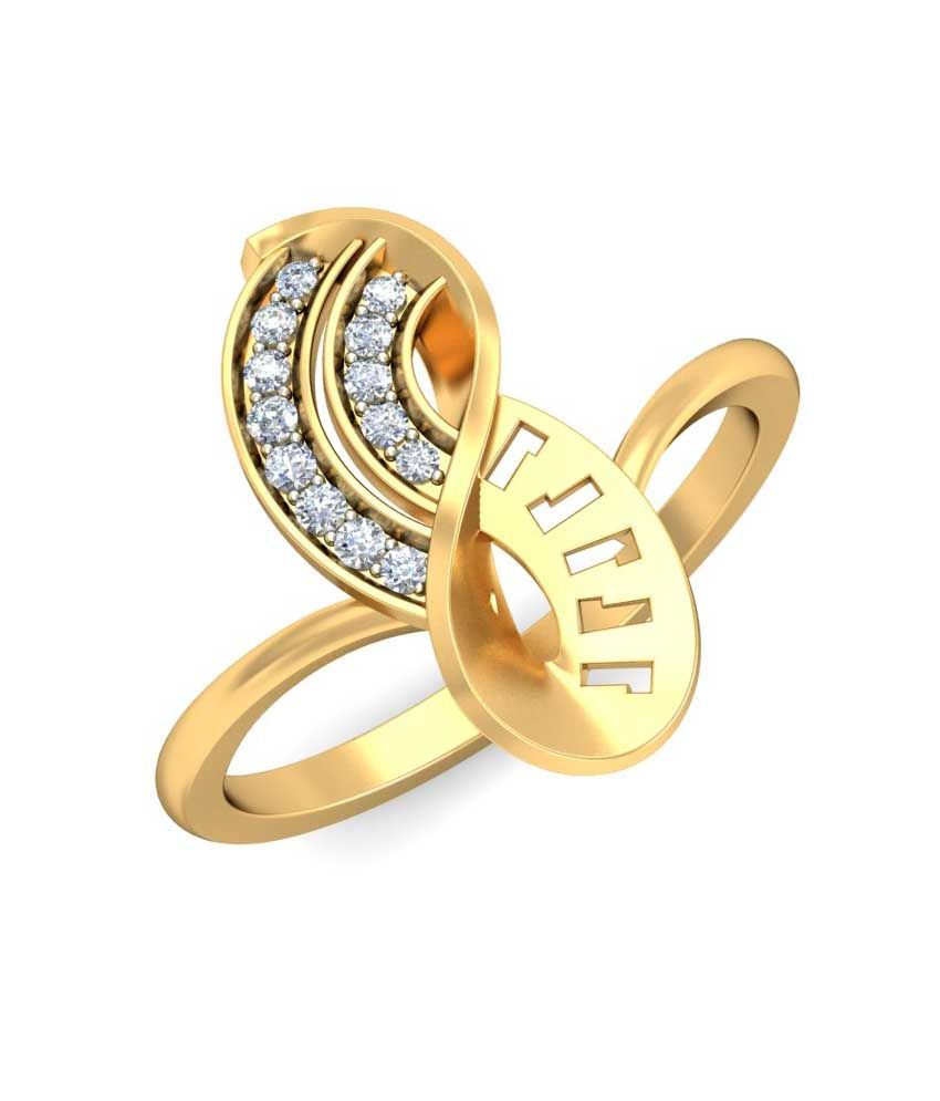 Ornomart 14 Kt Gold Twisted Knot Contemporary Diamond Ring