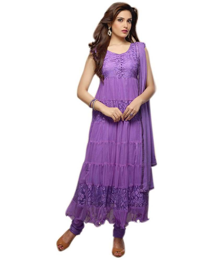 RBM Fashion Purple Faux Georgette Brasso Semi-Stitched Salwar Suit