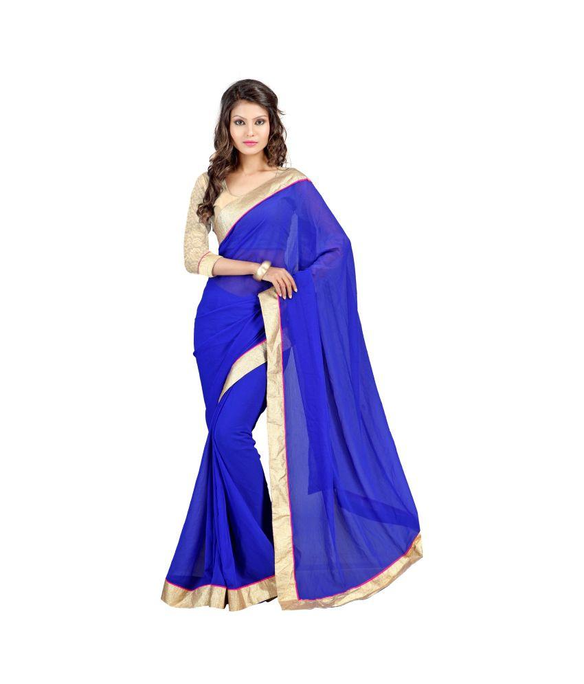 Sainandini Blue Chiffon Saree With Blouse Piece