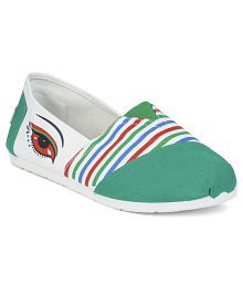 Action Green Jeans Flat Shoes For Women
