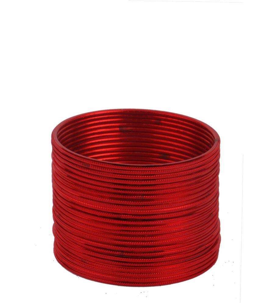 Aadhyaa Casual Hit Red Brass & Alloy Bangle Set Set Of 48